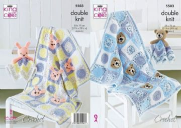 Baby Blankets and Comforter Toys, King Cole Crochet Pattern, 5503